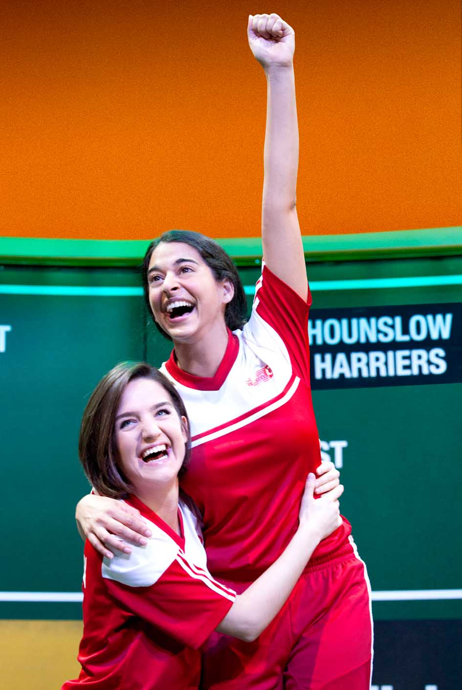 Lauren Samuels (Jules) and Natalie Dew (Jess) in Bend It Like Beckham The Musical.