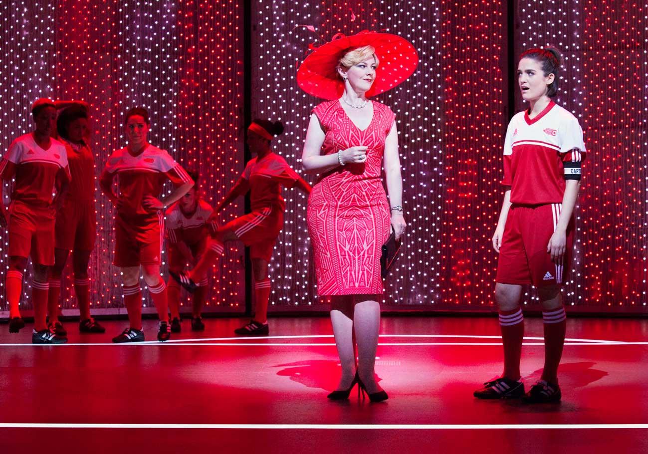 Sophie- Louise Dann (Paula) and Lauren Samuels (Jules) in Bend It Like Beckham The Musical, photo Ellie Kurttz