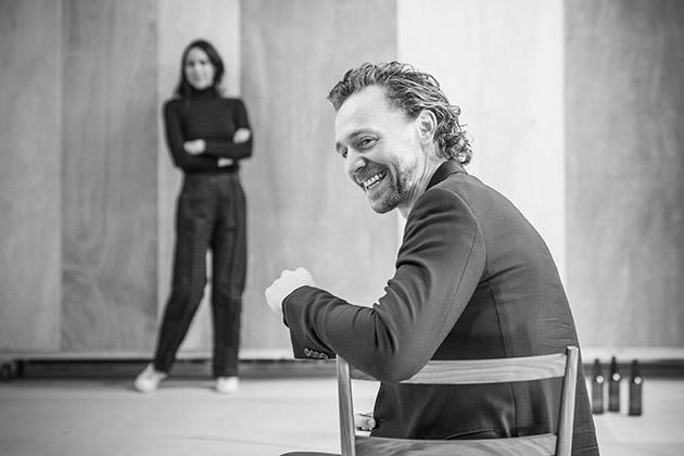 Zawe Ashton and Tom Hiddleston in rehearsal for 'Betrayal'.