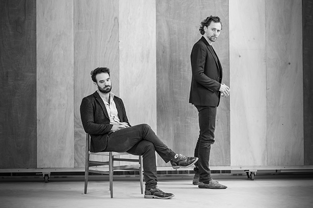 l-r Charlie Cox and Tom Hiddleston in rehearsal for 'Betrayal'.  ©Marc Brenner