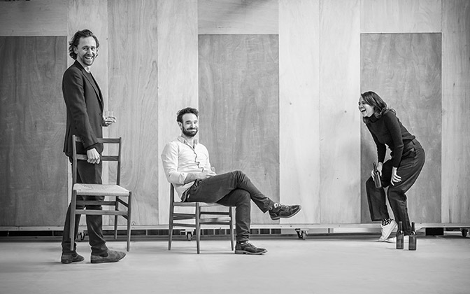 l-r Tom Hiddleston, Charlie Cox and Zawe Ashton in rehearsal for 'Betrayal'.  ©Marc Brenner