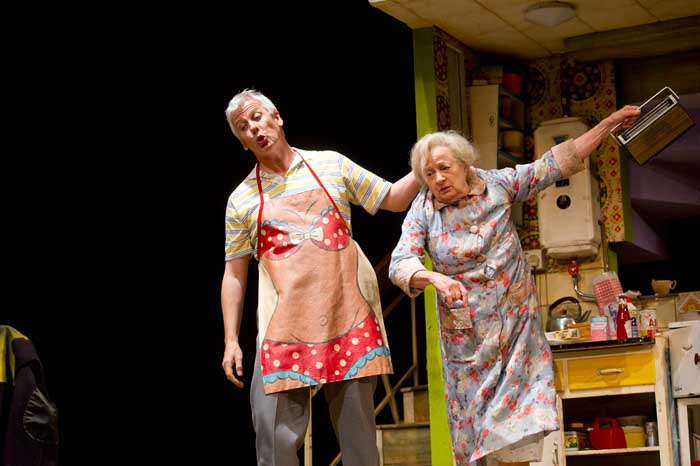 Deka Walmsley (Dad) and Ann Emery (Grandma) in Billy Elliot The Musical at the Victoria Palace Theatre. Photo credit Alastair Muir