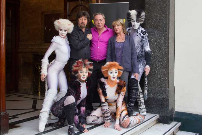 Trevor Nunn (Director), Andrew Lloyd Webber (Music), Gillian Lynne (Choreographer) and members of the cast during the launch for Cats at the London Palladium, London (Photo: Dan Wooller/wooller.com)