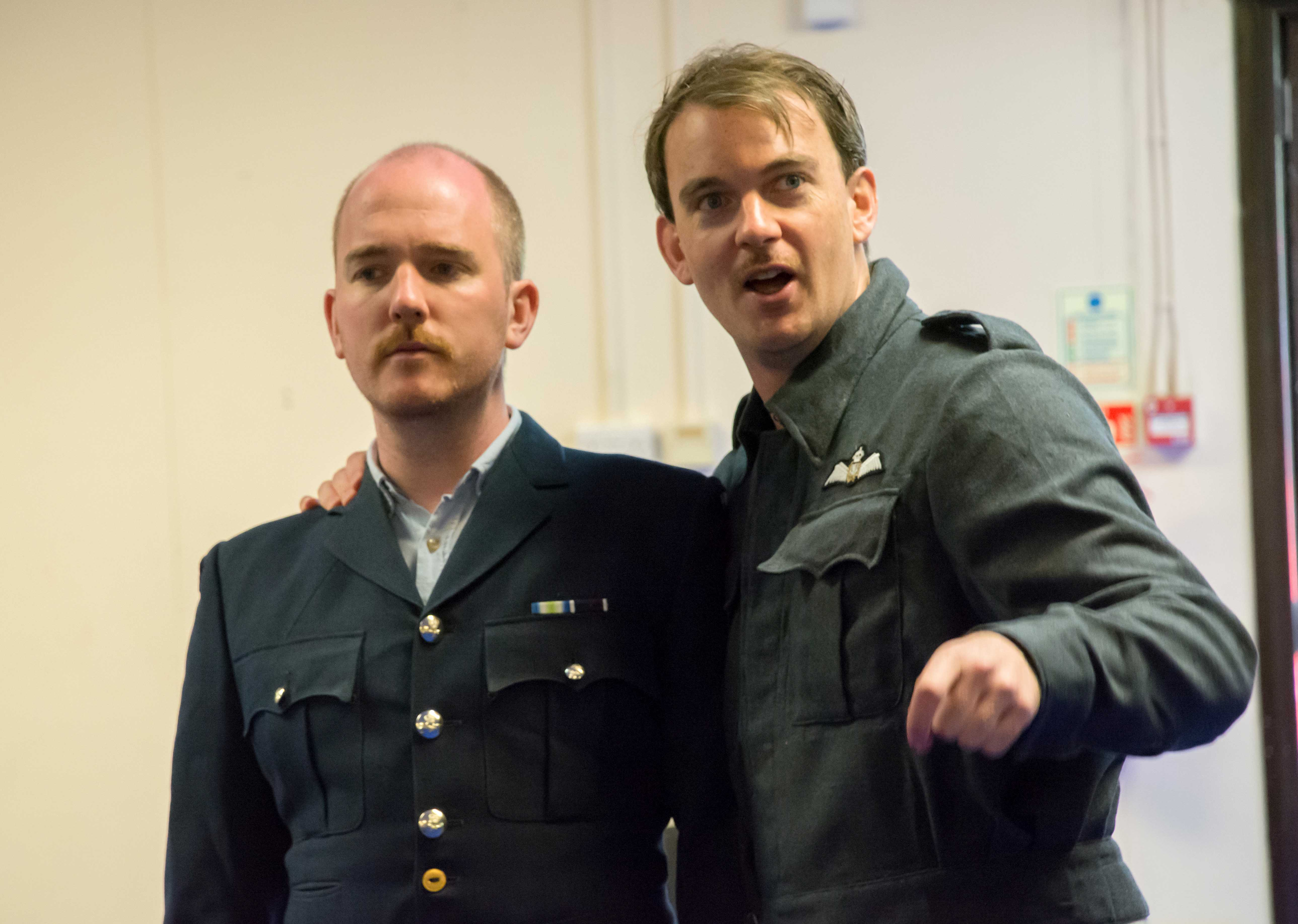 Adam Best and Alastair Whatley in rehearsal for Flare Path