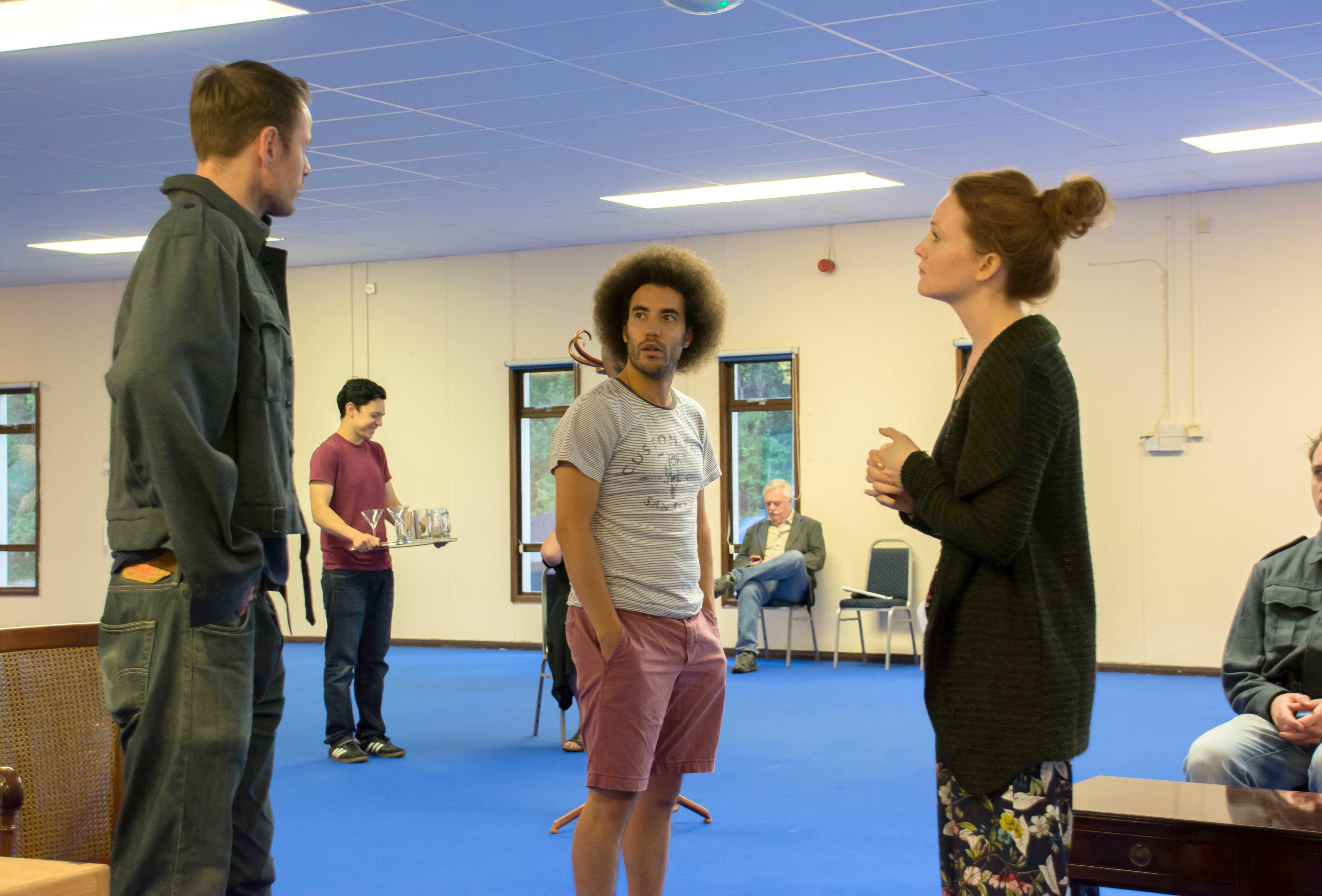 Simon Darwen, Justin Audibert and Olivia Hallinan in rehearsal for Flare Path