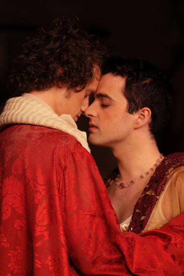 Shaun McCourt as the Lord Chancellor and Christopher Finn as Iolanthe in Iolanthe. Photo: © Roy Tan