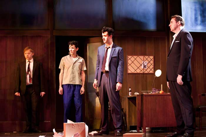 Rupert Grint (Sweets), Colin Morgan (Skinny), Daniel Mays (Potts) and Brendan Coyle (Mickey) in Mojo