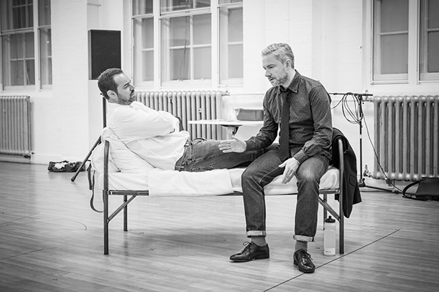 Martin Freeman and Danny Dyer in rehearsal for 'Pinter Seven'   © Marc Brenner