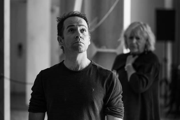 Jonjo O'Neill with Maggie Steed in rehearsal for Pinter One