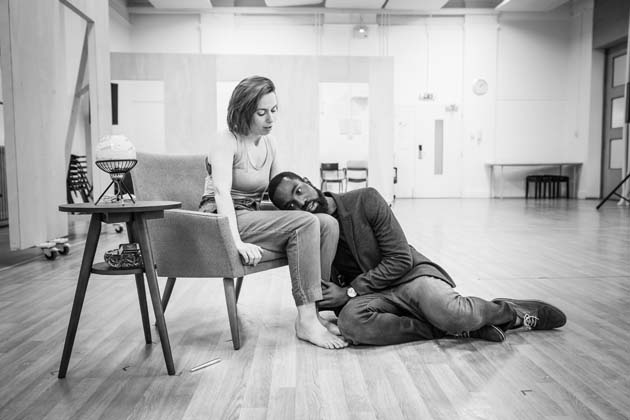 Kate O'Flynn and Paapa Essiedu in rehearsals for Pinter One