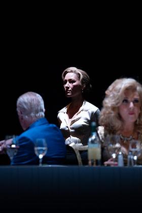 Phil Davis, Eleanor Matsuura and Tracy Ann Oberman in Pinter Six.  © Marc Brenner