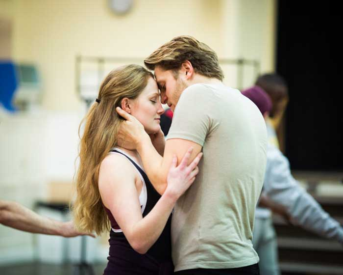Eve Ponsonby (Viola De Lesseps) and Orlando James (William Shakespeare) rehearsal for Shakespeare in Love at the Noel Coward Theatre. Photo: Helen Maybanks