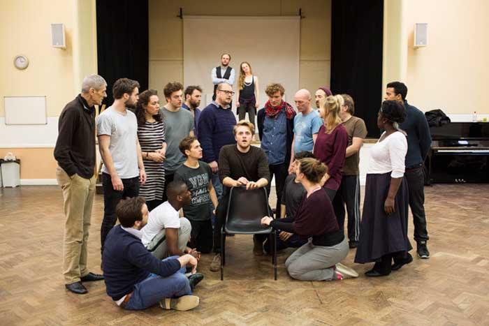 The new cast of Shakespeare in Love at the Noel Coward Theatre in rehearsal. Photo: Helen Maybanks