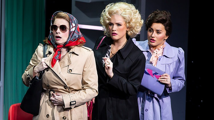 Caroline Sheen 'Violet Newstead', Natalie McQueen 'Doralee Rhodes', Amber Davies 'Judy Bernly'. 9 to 5 The Musical. Photo Pamela Raith