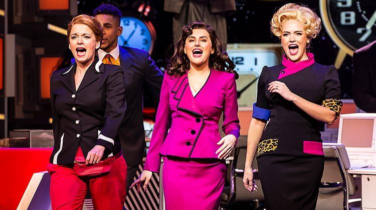 Caroline Sheen as Violet, Amber Davies as Judy & Natalie McQueen as Doralee. Photo Pamela Raith