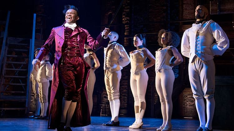 Jason Pennycooke (Thomas Jefferson) with West End cast of Hamilton - Photo Matthew Murphy