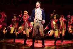 centre Jamael Westman (Alexander Hamilton) with West End cast of Hamilton - Photo Matthew Murphy