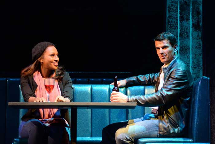 Alexandra Burke  (Rachel Marron) and Tristan Gemmill (Frank Farmer) in The Bodyguard at The Adelphi Theatre Photo Credit Alessandro Pinna