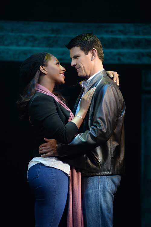 Alexandra Burke  (Rachel Marron) and Tristan Gemmill (Frank Farmer) in The Bodyguard at The Adelphi Theatre. Photo Credit Alessandro Pinna