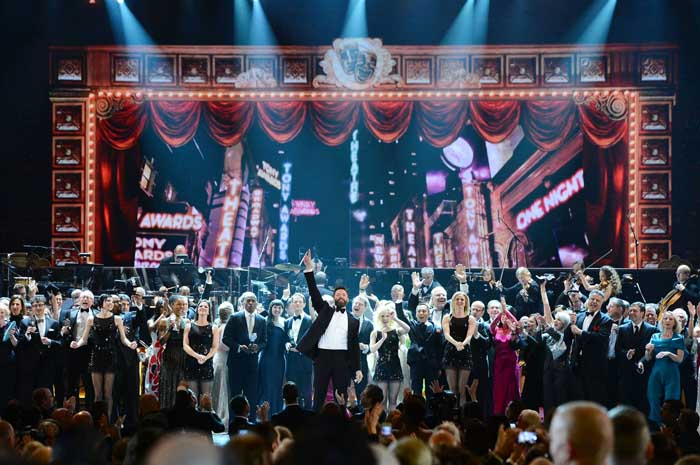 Tony Awards host Hugh Jackman onstage during the 68th Annual Tony Awards at Radio City Music Hall