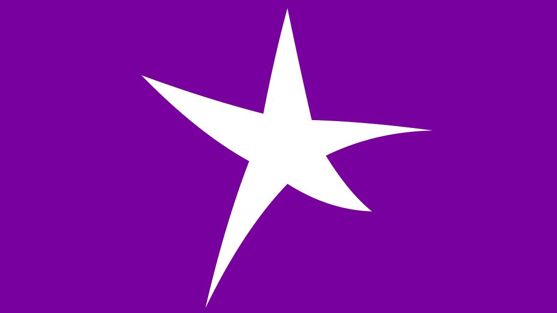WET star purple background big white star