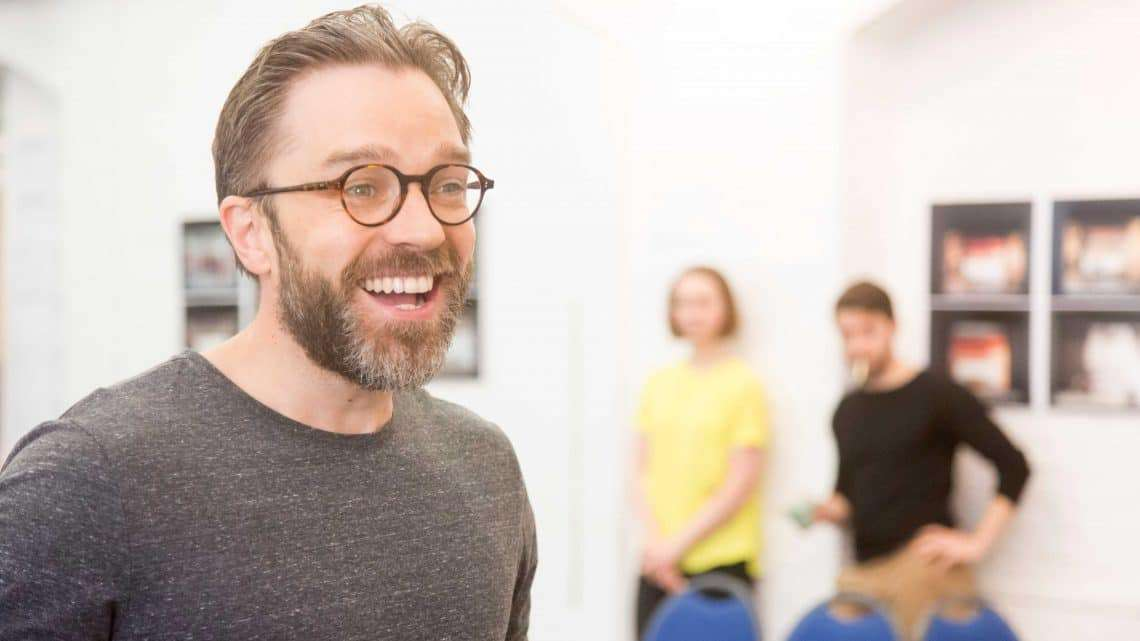 Hadley Fraser in rehearsals for Harlequinade. Credit Johan Persson