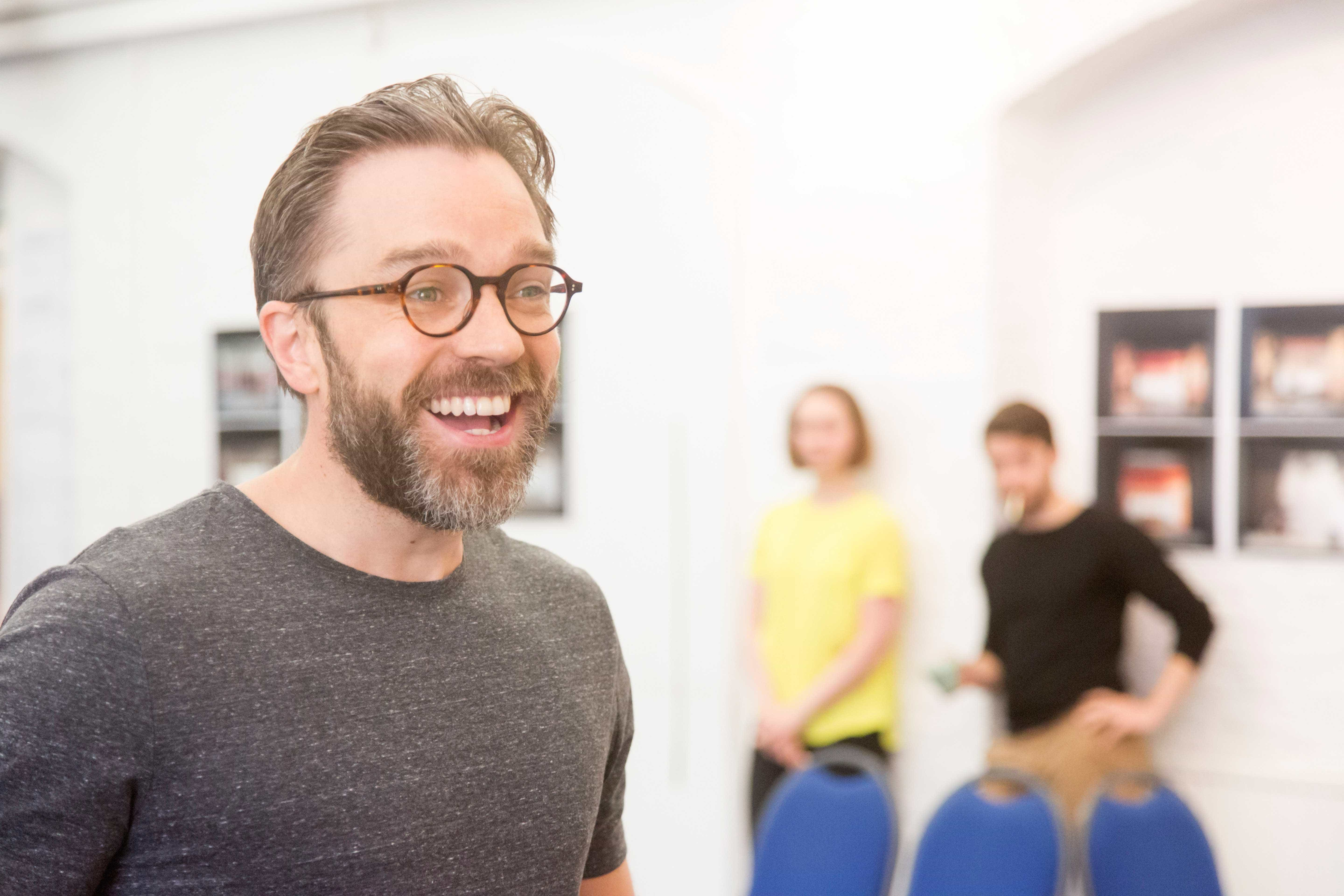 Hadley Fraser in rehearsals for Harlequinade. Credit Johan Persson | Rehearsal images of Kenneth Branagh's Harlequinade