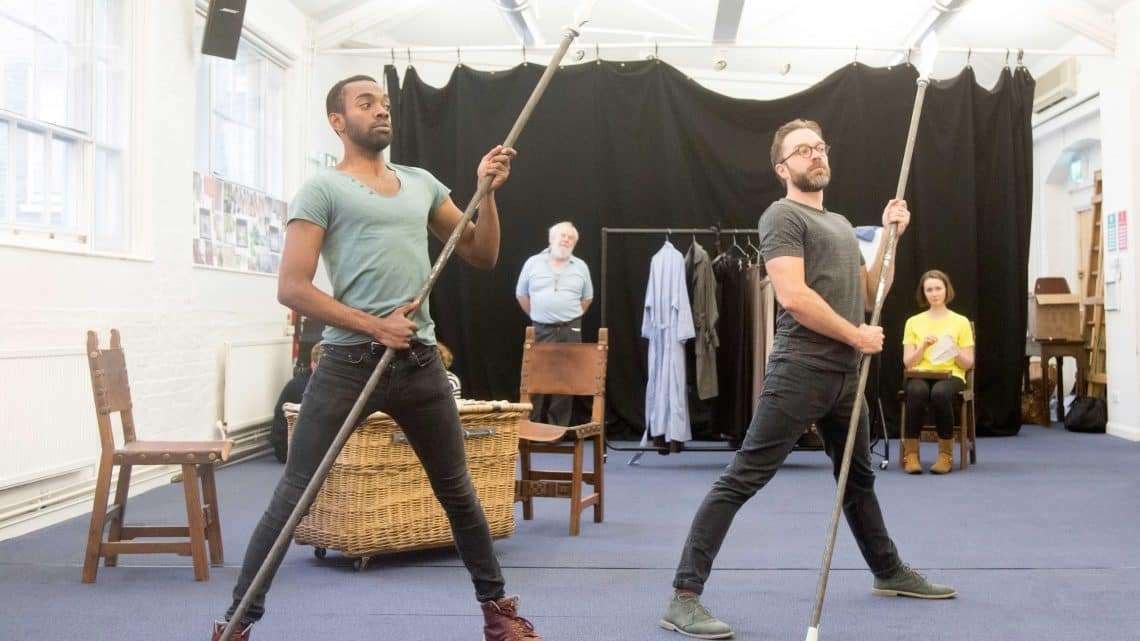 Jaygann Ayeh and Hadley Fraser in rehearsals for Harlequinade. Credit Johan Persson