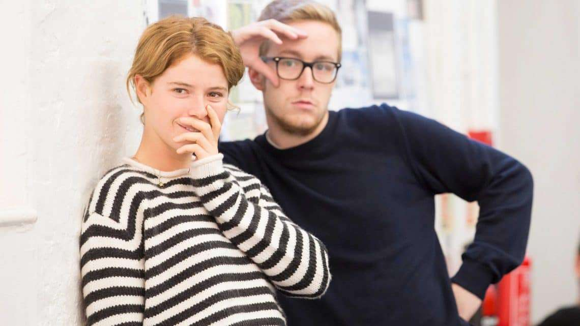 Jessie Buckley and Jack Colgrave Hirst in rehearsals for Harlequinade. Credit Johan Persson