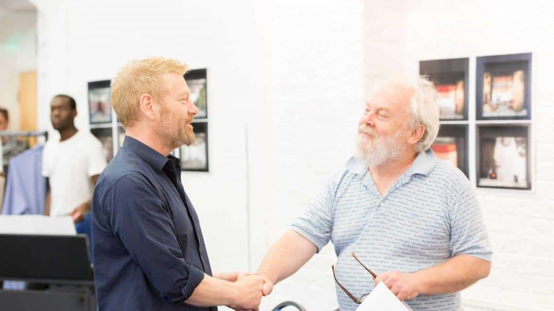 Kenneth Branagh and Jimmy Yuill  in rehearsals for Harlequinade. Credit Johan Persson