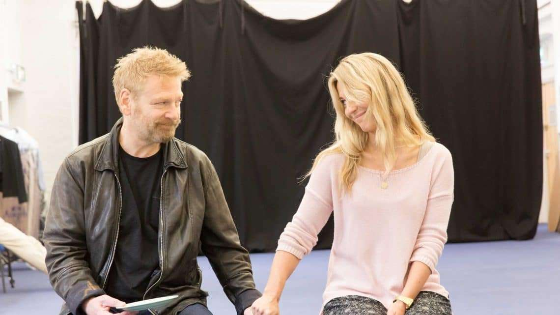 Kenneth Branagh and Miranda Raison in rehearsals for Harlequinade. Credit Johan Persson