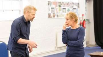 Kenneth Branagh and Zoe Wanamaker in rehearsals for Harlequinade. Credit Johan Persson
