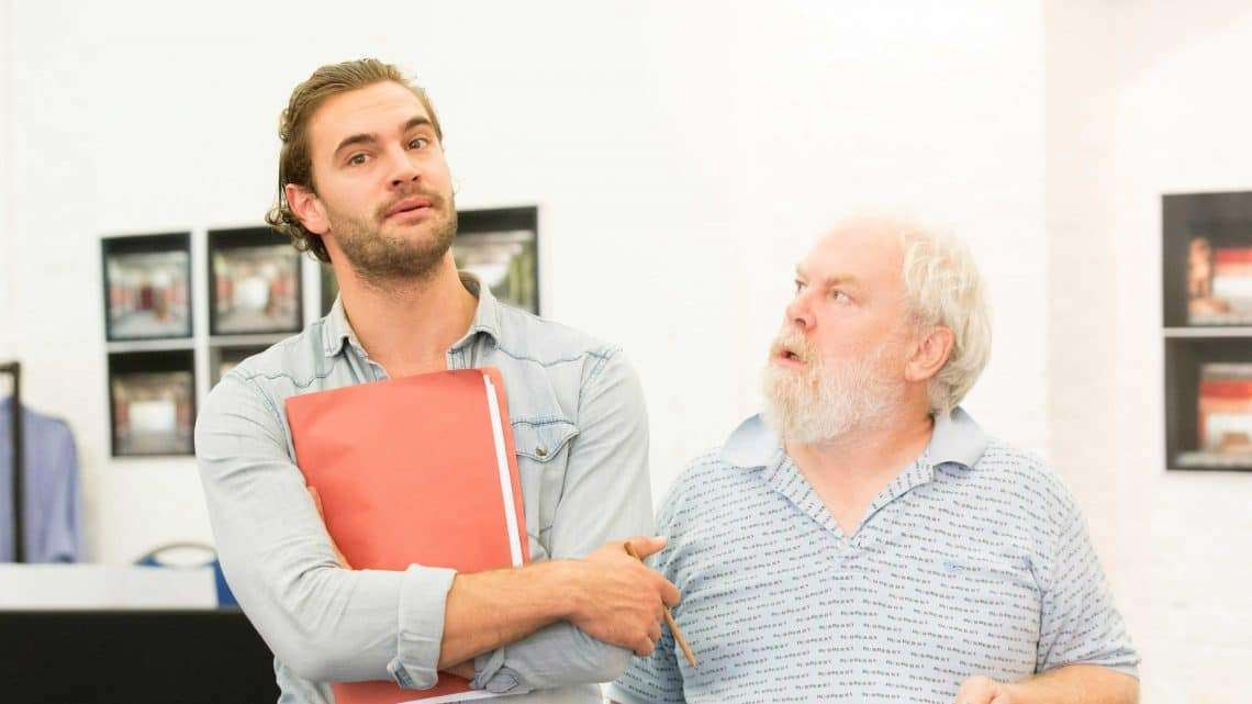 Tom Bateman and Jimmy Yuill in rehearsals for Harlequinade. Credit Johan Persson