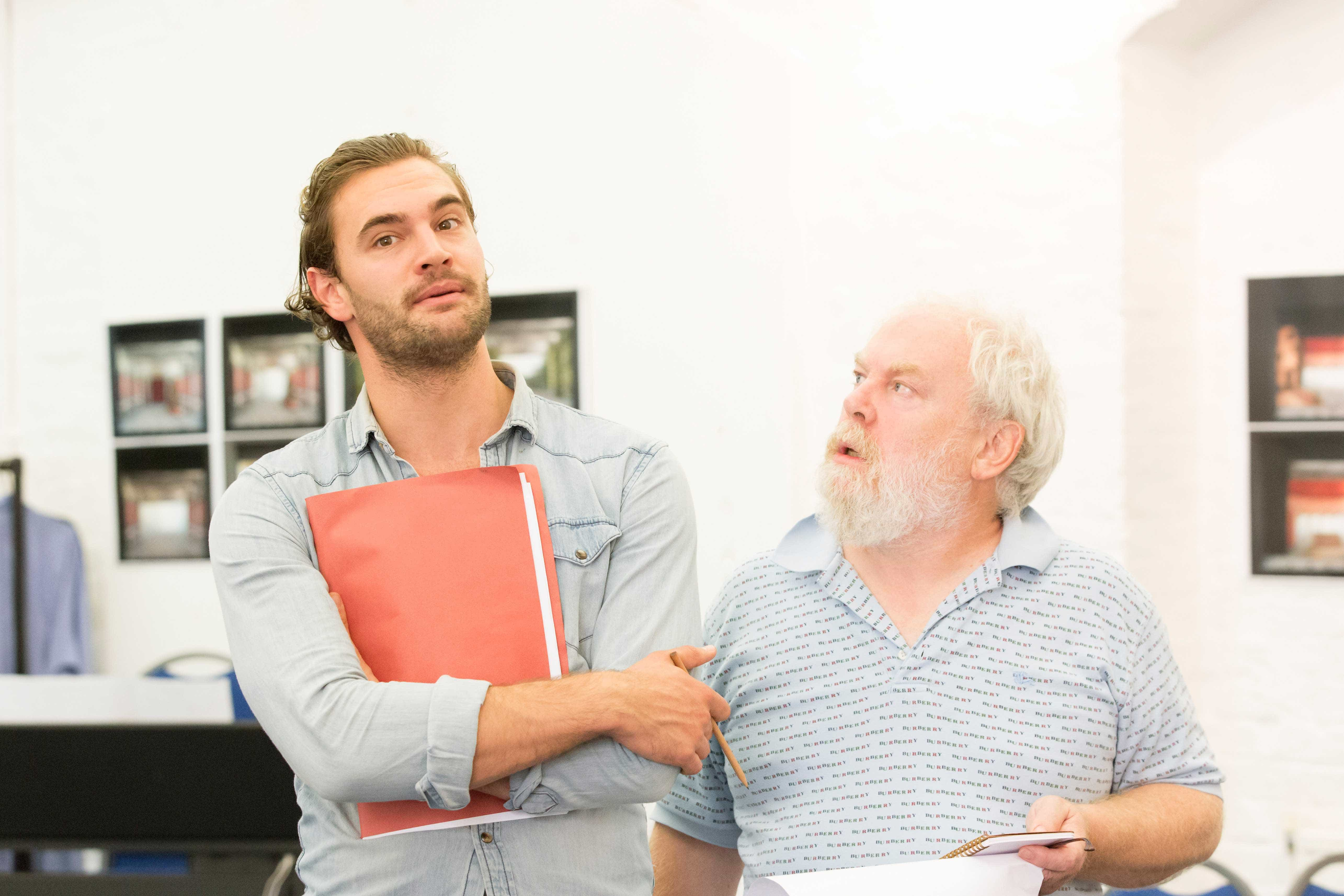 Tom Bateman and Jimmy Yuill in rehearsals for Harlequinade. Credit Johan Persson | Rehearsal images of Kenneth Branagh's Harlequinade