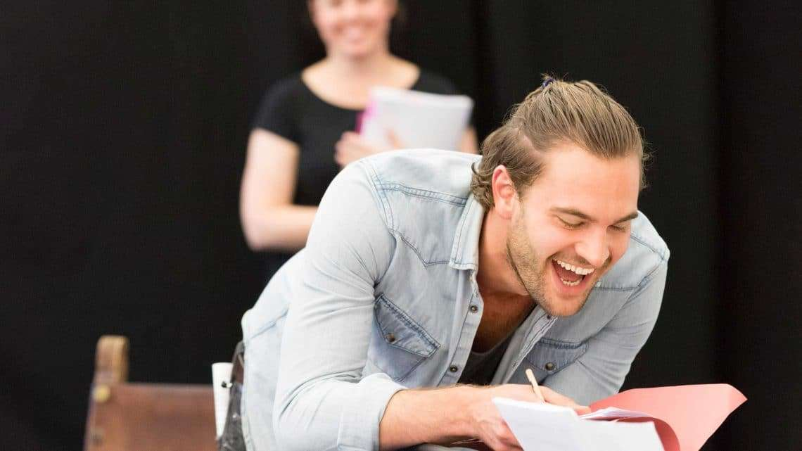 Tom Bateman in rehearsals for Harlequinade. Credit Johan Persson