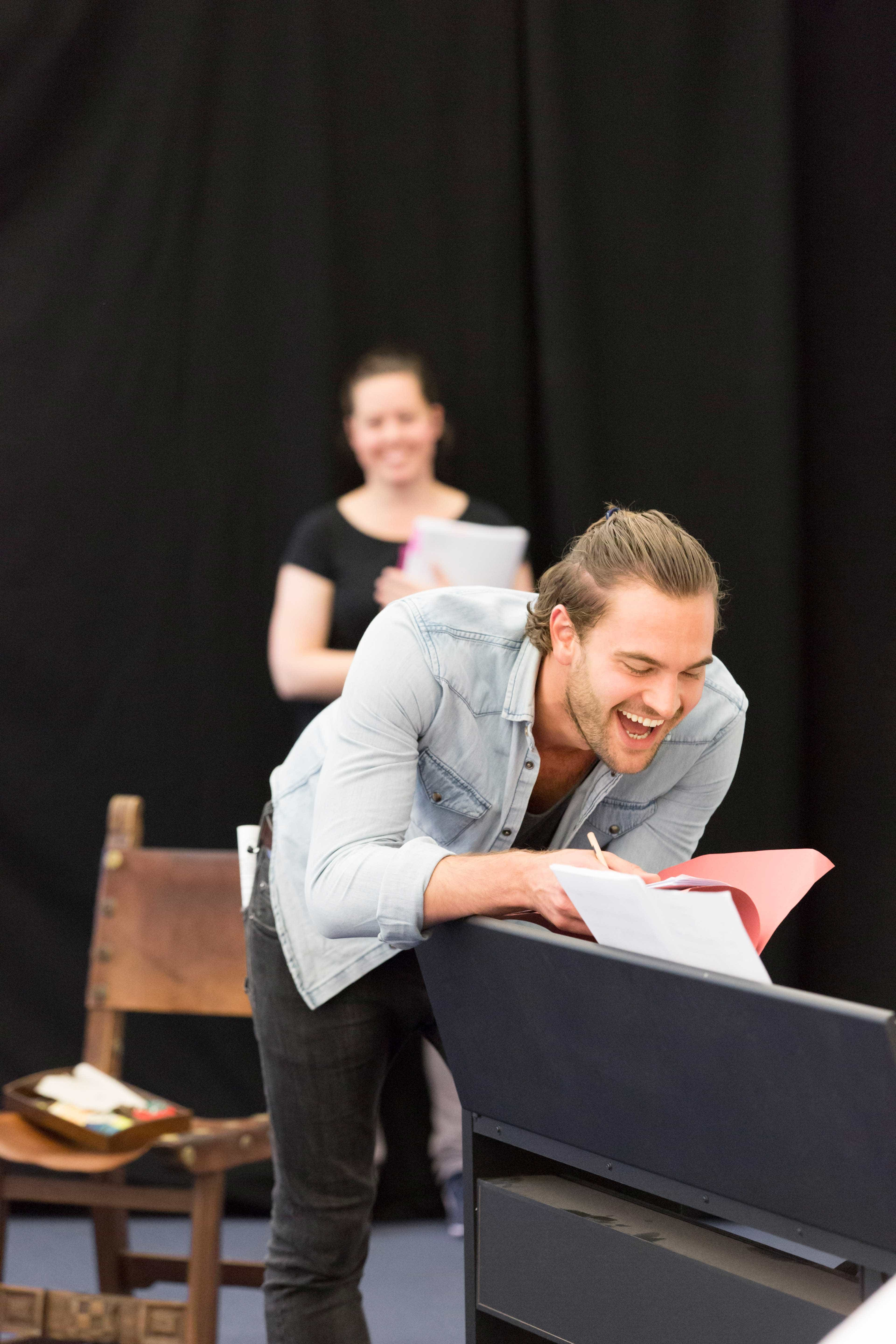Tom Bateman in rehearsals for Harlequinade. Credit Johan Persson | Rehearsal images of Kenneth Branagh's Harlequinade