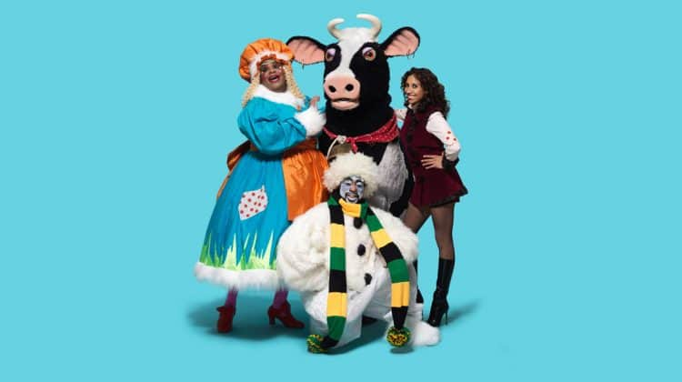 Clive Rowe Buttercup the cow Debbie Kurup and Kat B in Hackney Empire Jack and the Beanstalk Photo: Perou