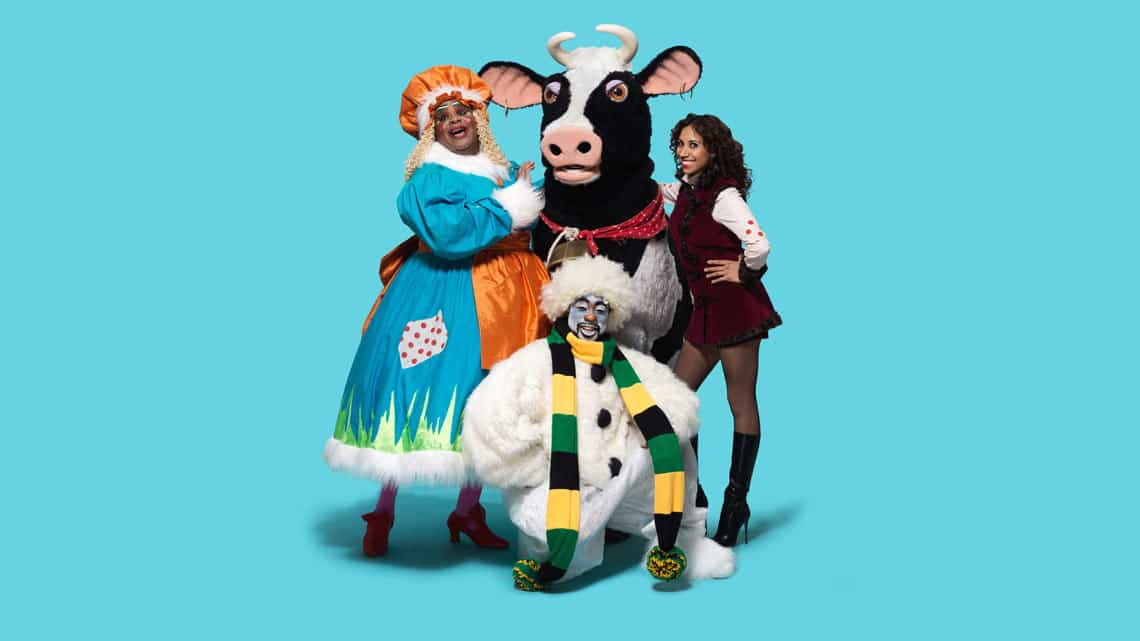 Clive Rowe Buttercup the cow Debbie Kurup and Kat B in Hackney Empire Jack and the Beanstalk Photo: Perou | First Look: Clive Rowe in panto rehearsal
