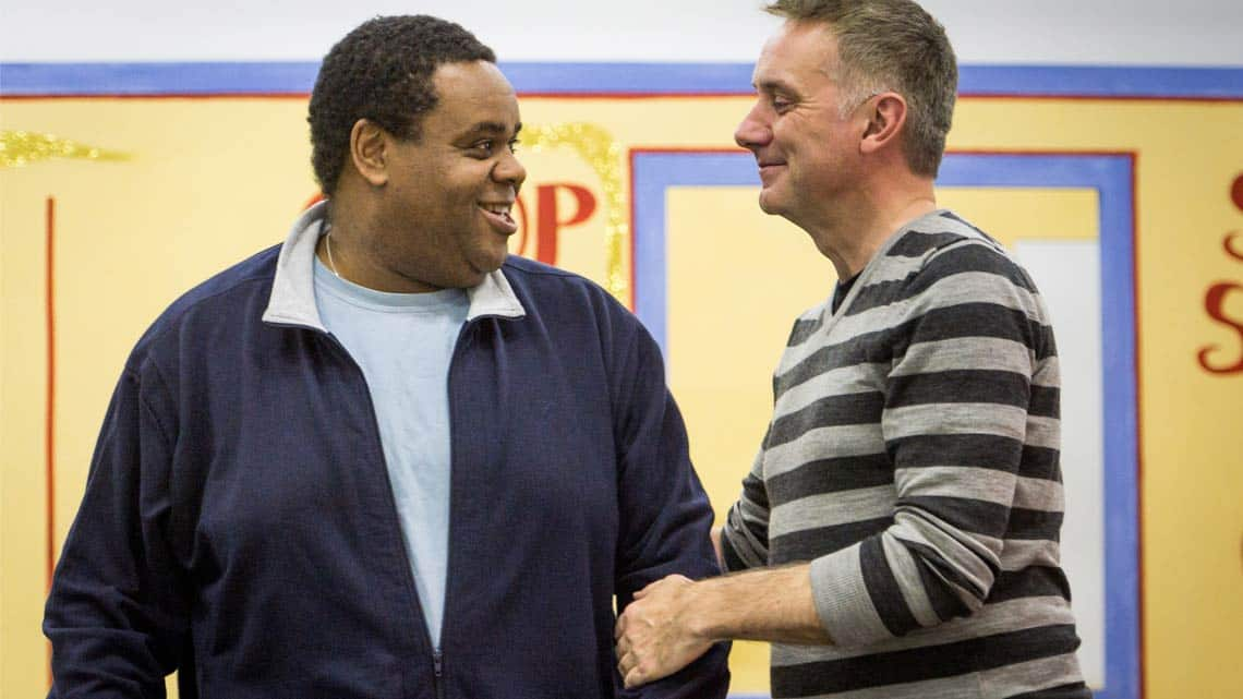 Clive Rowe and Tony Timberlake in rehearsal for Hackney Empires Jack and the Beanstalk. Photo: Robert Workman | First Look: Clive Rowe in panto rehearsal