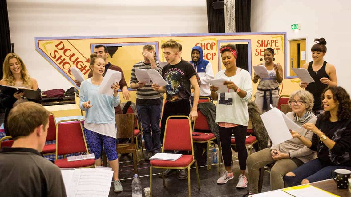 The cast in rehearsal for Hackney Empires Jack and the Beanstalk. Photo:  Robert Workman | First Look: Clive Rowe in panto rehearsal