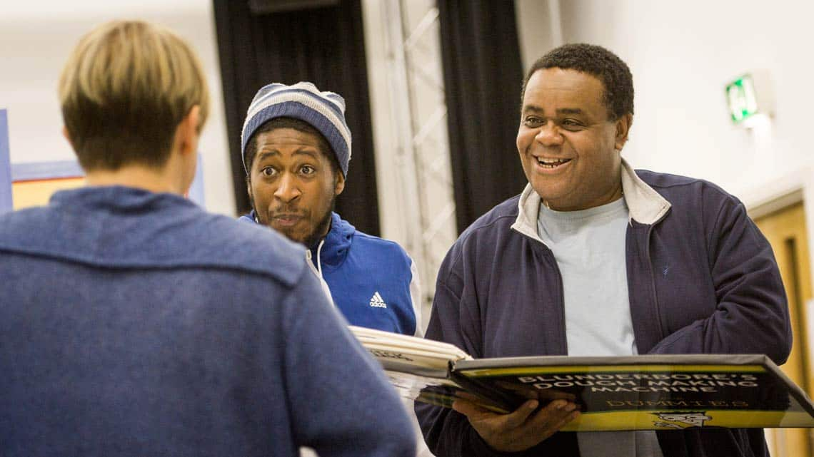 Susie McKenna Darren Hart and Clive Rowe in rehearsal for Hackney Empires Jack and the Beanstalk. Photo: Robert Workman | First Look: Clive Rowe in panto rehearsal