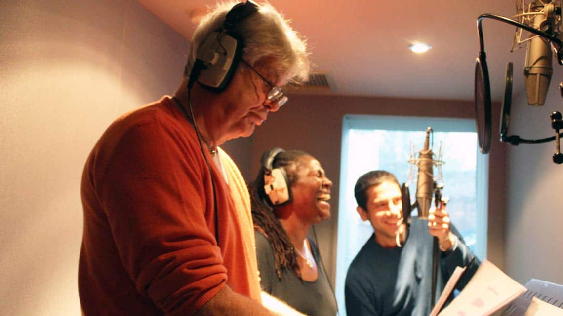 Matthew Kelly and Sharon D Clarke recording for Hackney Empires Jack and the Beanstalk. | First Look: Clive Rowe in panto rehearsal