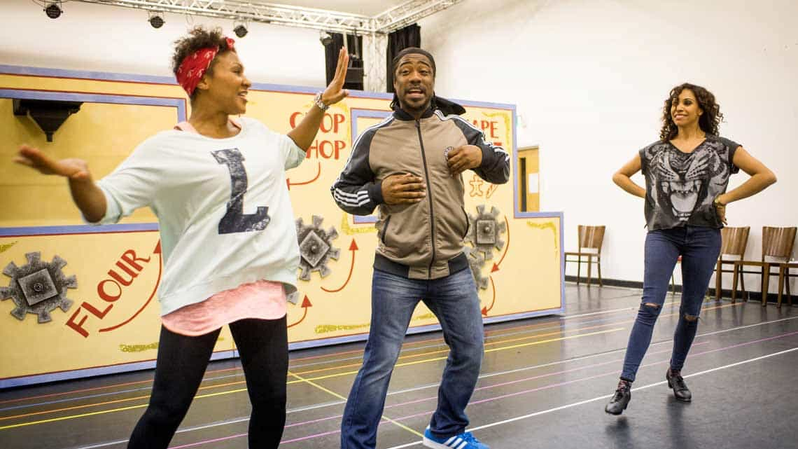 Lori Barker Kat B and Debbie Kurup in rehearsal for Hackney Empires Jack and the Beanstalk. Photo: Robert Workman | First Look: Clive Rowe in panto rehearsal