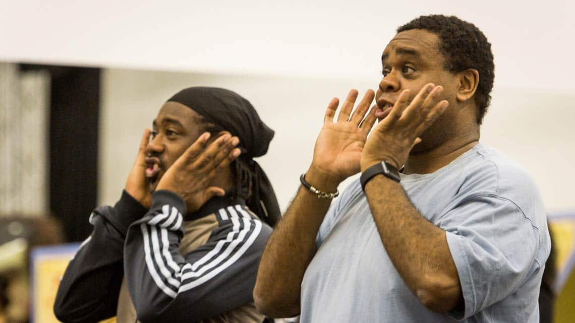 Kat B and Clive Rowe in rehearsal for Hackney Empires Jack and the Beanstalk. Photo: Robert Workman | First Look: Clive Rowe in panto rehearsal