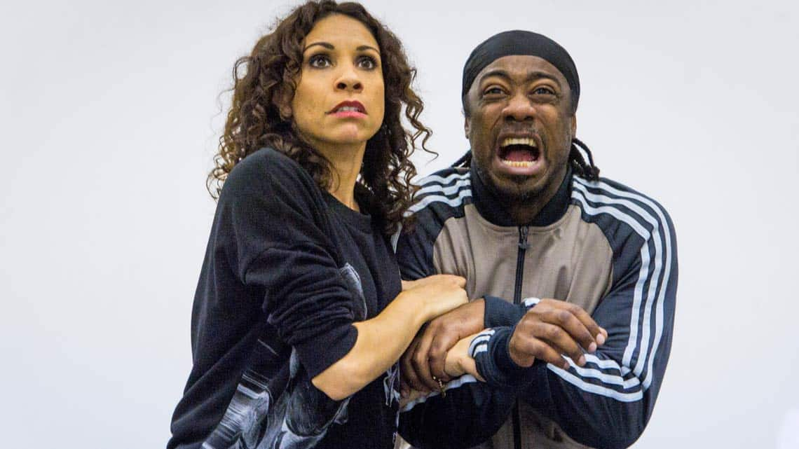Debbie Kurup and Kat B in rehearsal for Hackney Empires Jack and the Beanstalk. Photo: Robert Workman | First Look: Clive Rowe in panto rehearsal