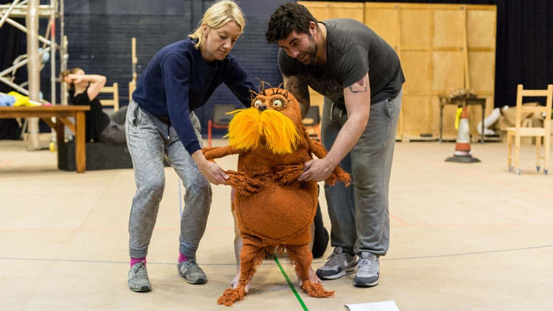 Laura Cubitt (Ensemble), Ben Thompson (Puppeteer) and Simon Lipkin (The Lorax). The Lorax at The Old Vic. Photo: Manuel Harlan | Photos: The Lorax in rehearsal