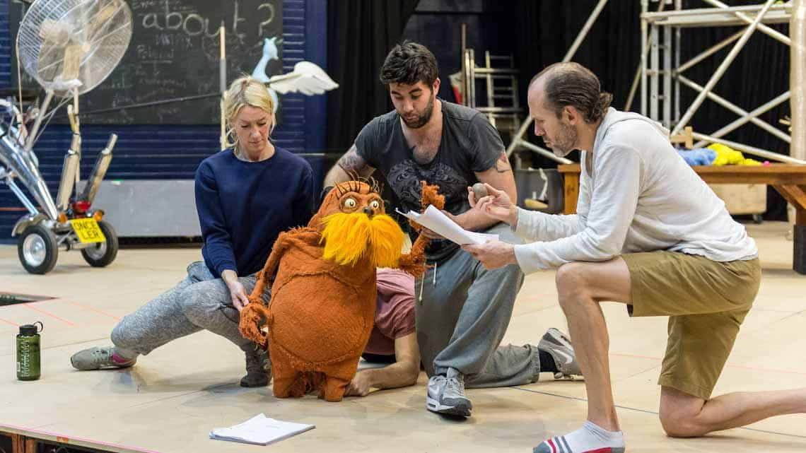 Laura Cubitt (Ensemble), Ben Thompson (Puppeteer), Simon Lipkin (The Lorax) and Simon Paisley Day (Once-Ler). The Lorax at The Old Vic Photo: Manuel Harlan | Photos: The Lorax in rehearsal