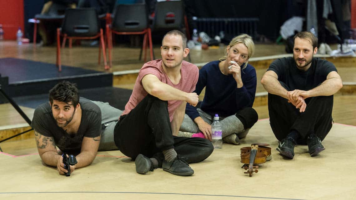 Simon Lipkin (Lorax), Ben Thompson (Puppeteer - Dancer), Laura Cubitt (Ensemble) and Jack Beale (Enemble). The Lorax at The Old Vic. Photos by Manuel Harlan. | Photos: The Lorax in rehearsal