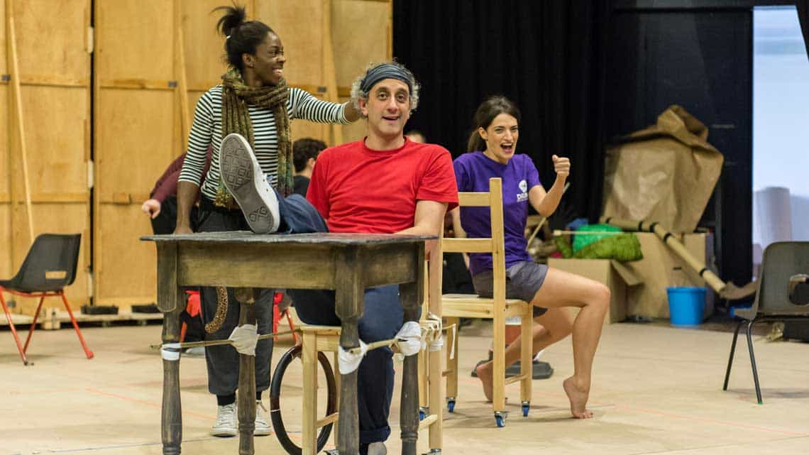 Carly Mercedes Dyer (Ensemble), Richard Katz (Ensemble) and Anabel Kutay (Ensemble). The Lorax at The Old Vic. Photo: Manuel Harlan. | Photos: The Lorax in rehearsal