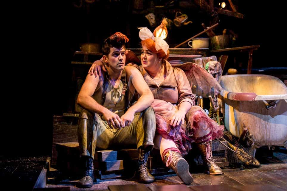 Rhys Rusbatch (Peter) and Charlotte Mills (Tink)  Photo: Manuel Harlan   First look at Jonathan Munby's Wendy and Peter Pan at the RSC